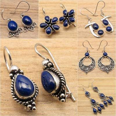 925 Silver Plated Navy Blue LAPIS LAZULI Gem Earrings, Different Styles & Shapes
