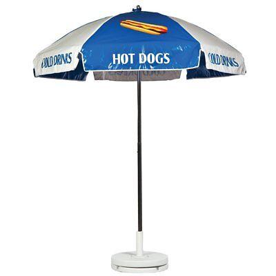 Hot Dog Vendor Cart Concession Umbrella Blue White