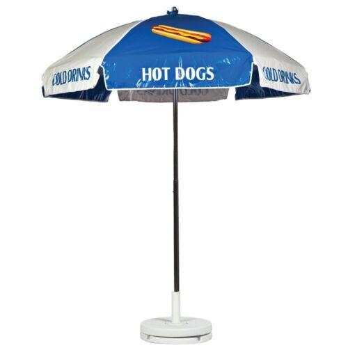 Hot Dog Vendor Cart Concession Umbrella Blue & White With Tilt