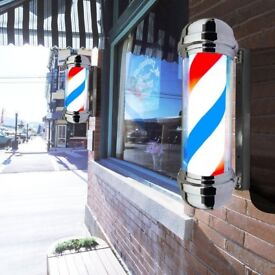 Brand New and Boxed Red blue and white Barber Poles for the Barber chairs