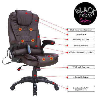 Executive Ergonomic Office Massage Chair Heated Vibrating Computer Desk Chair