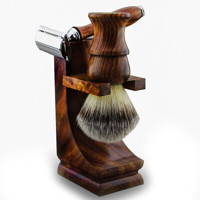 Synthetic Hair Brush Shaving and Grooming Set 3 Piece Barber Salon Wooden Kit for sale  Shipping to India