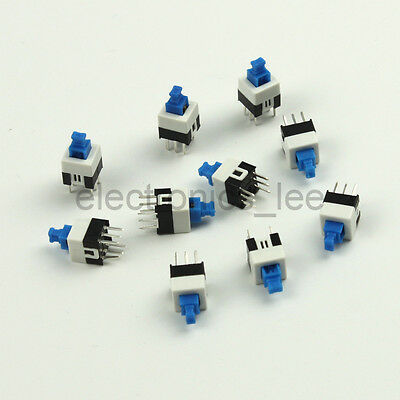 10pcs Self-Lock Type Square Push Button Contact Switch 6pin DIP 7*7mm