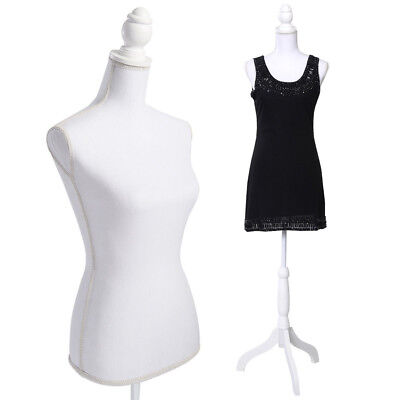 Female Mannequin Torso Dress Clothing Display W Tripod Stand Fiberglass