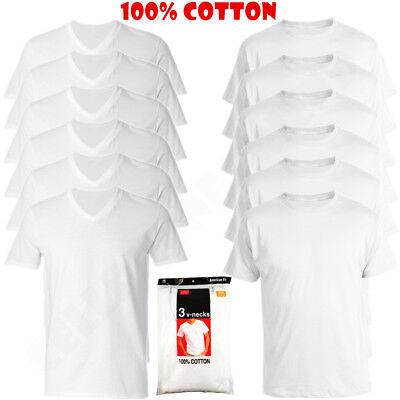 New 3 6 Pack Mens 100  Cotton Crew  V Neck Tagless T Shirt Undershirt White S Xl