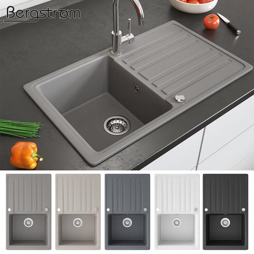 Bergström Granit Spüle Küchenspüle Einbauspüle Spülbecken 765x460mm Farbasuwahl