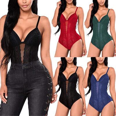 Women Sexy Lace Bodysuit One Piece Teddy Lingerie Babydoll Sleepwear Clubwear US
