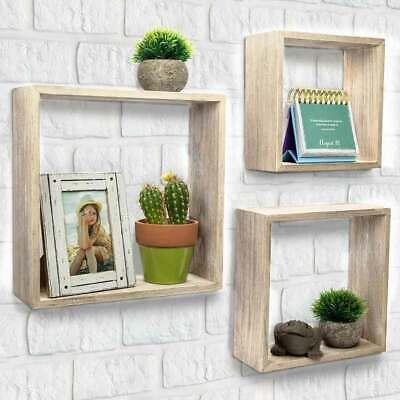 Set 3 Mensole da Parete Moderne Design Cubo Mensola Scaffale in Legno MDF Beige