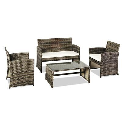 4pc Patio Furniture Set PE Wicker Cushioned Outdoor Rattan S