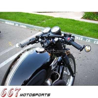 Noir 22mm//25mm Guidon Poignée Barre Pour Harley Chopper Coureur Café Clubman