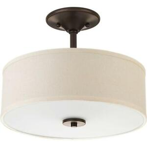 NEW Progress Lighting P3712-20 Inspire Collection Two-Light Semi-Flush Mount, Antique Bronze Condtion: New