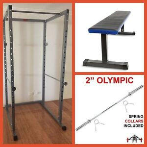 Power Rack + Flat Weight Bench + 7 Foot Olympic Bar Package Deal Canning Vale Canning Area Preview