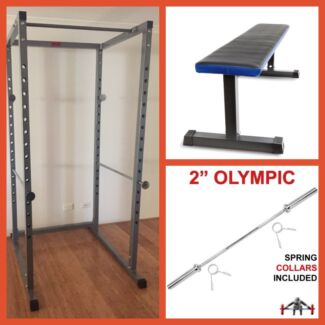 Power Rack + Flat Weight Bench + 7 Foot Olympic Bar Package Deal