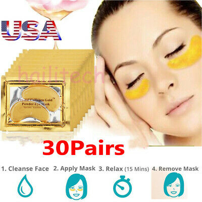 30pairs Crystal Gold Collagen Under Eye Patches Mask DARK CIRCLES BAGS -