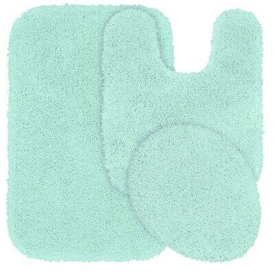 Solid Mat Stack (SOLID BATH RUG CONTOUR MAT TOILET LID COVER BATHROOM SET 3PC MINT GREEN #6 )