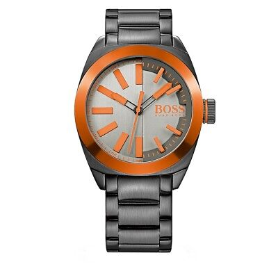 Hugo Boss London Silver/Orange Dial Stainless Steel Quartz Mens Watch (Hugo Boss London)