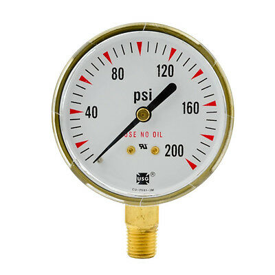 2-12 X 200 Psi Welding Regulator Repair Replacement Gauge For Oxygen 2.5 Inch