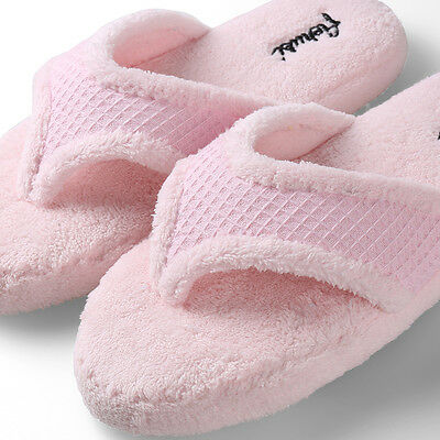 3bfc17d11a1d Pink Women Fuzzy Plush Thong Slippers Flip Flops House Bedroom Shoes Size 7  8 9