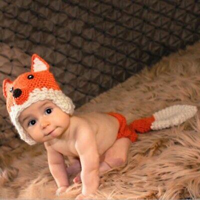 Newborn Baby Girl Boy Photography Photos Props Outfits Crochet Costume Cute Fox ()