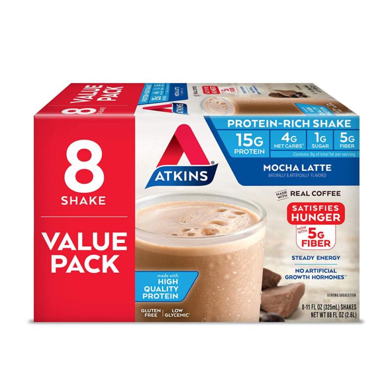 Atkins Gluten Free Protein-Rich Shake, Mocha Latte, Keto
