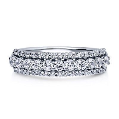 Sterling Silver 925 Women's CZ 3 Row Pave Anniversary Wedding Band Ring Sz 4-10 3 Row Band Ring