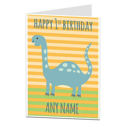 Special Personalised 1st First Birthday Card Dinosaur Theme For Boys Girls Son