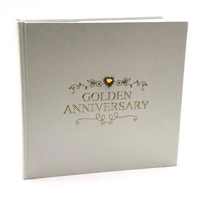 50th Golden Wedding Anniversary Photo Album 50 Pictures Raised Jewel 280181 (50th Anniversary Photo Album)