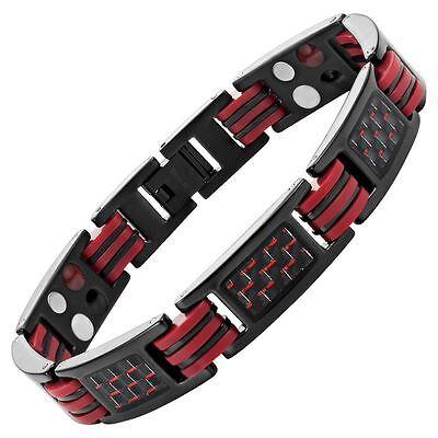 Willis Judd New Mens Four Element Magnetic Red Carbon Fiber Titanium Bracelet  (Carbon Fiber Mens Bracelets)