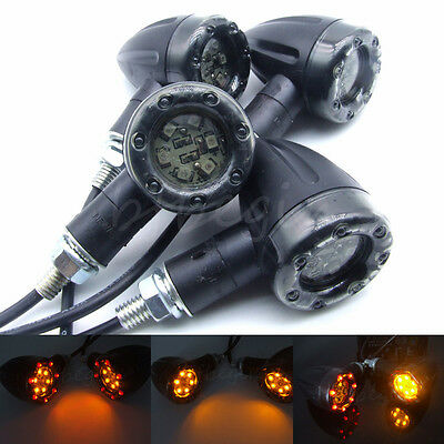 4x Motorcycle LED Amber Lamp Rear Turn Signal Brake lights Indicators Universal