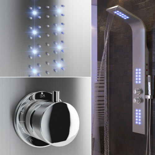 Regendusche Edelstahl Duschpaneel Duscharmatur Duschsäule mit LED Thermostat