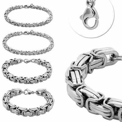 Armband 22cm Königskette Edelstahl Panzerkette Silbern Herren Schmuck Damen  - Herren Armbänder