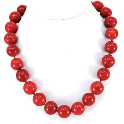 """13-14mm Red Coral Large Beads Knotted 14K Gold Filled Necklace 18"""" FREE SHIPPING"""