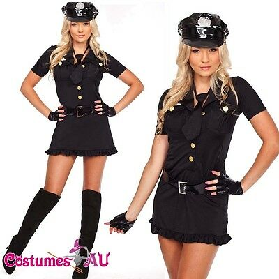 New Ladies Woman Black Cop Police Uniform Party Fancy Dress Costume Outfit - Cop Outfits For Women