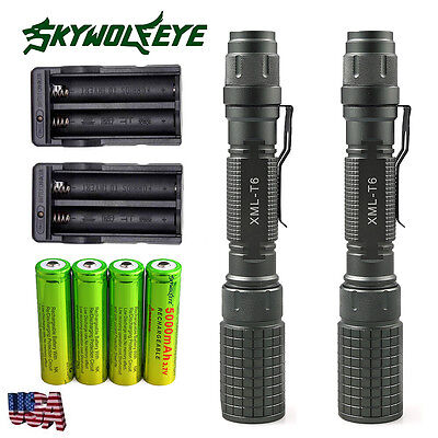 2 Sets Tactical CREE XML T6 10000Lumen LED Flashlight Torch 5 Mode 18650 Charger