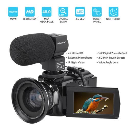 4K HD Digital Camcorder 16X Zoom WiFi 48 MP Video Camera w/M