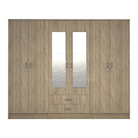 wardrobe 4 you, 2,28m wide 6 door oak wardrobe