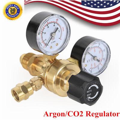 2 Argon Co2 Gas Pressure Regulator Dual Gauge Flow Meter Mig Tig Welding Welder