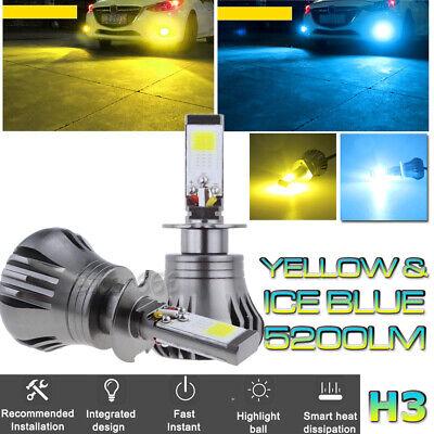 H3 LED Fog Driving Light Bulb 3K Yellow + 8K Ice Blue Dual Color w/ Strobe Mode