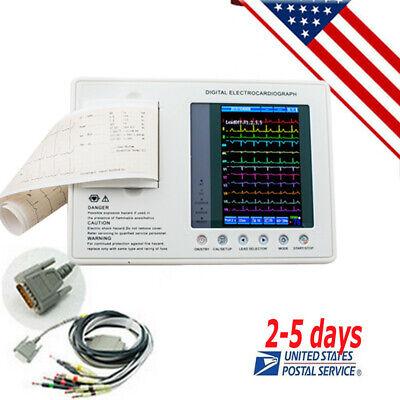 Portable Electrocardiograph Digital 3channel 12lead Ecgekg Machine Software Us