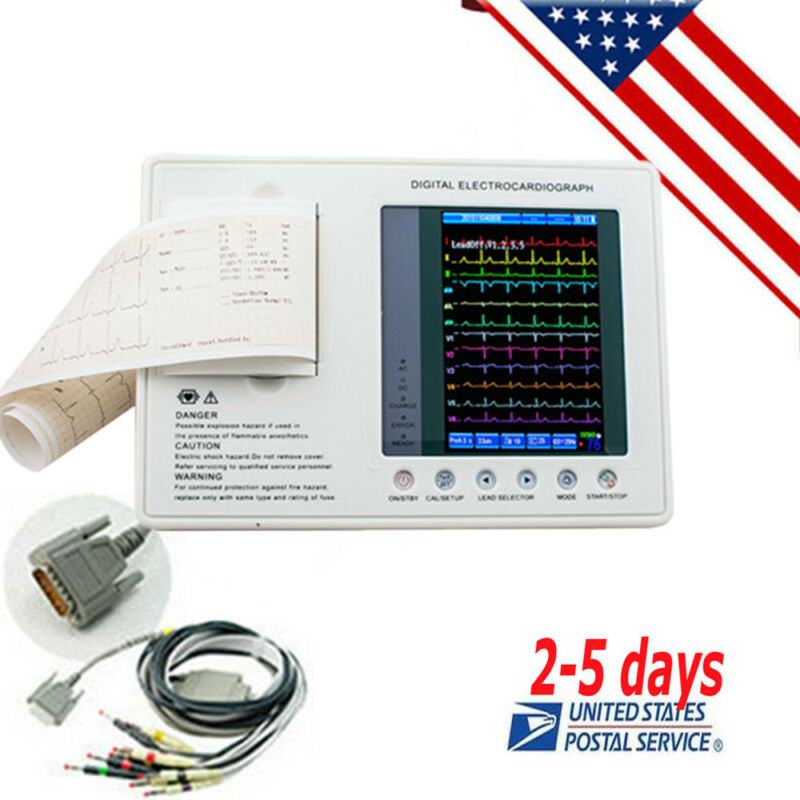 Portable Electrocardiograph Digital 3Channel 12Lead ECG&EKG Machine +Software US