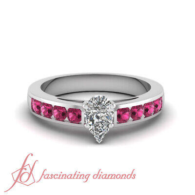 0.90 Carat Teardrop Diamond And Pink Sapphire Channel Set Engagement Rings GIA