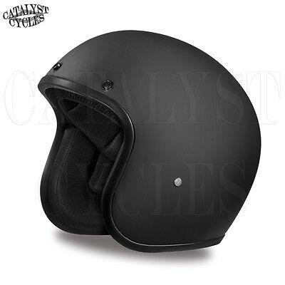 3/4 Motorcycle Helmet Flat Black Open Face Helmet DOT Daytona Cruiser ALL SIZES Black Cruiser Open Face Helmets