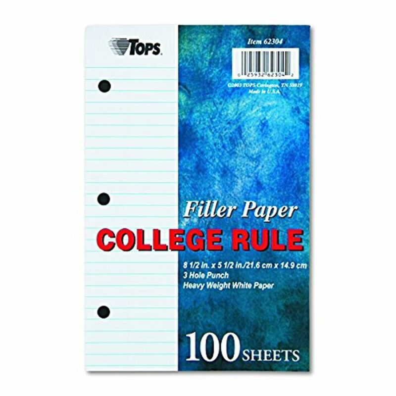 TOPS 62304 Filler Paper, 5 1/2 x 8 1/2, College Rule, White (100 Sheets)