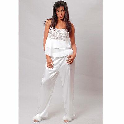 Plus Size Lingerie Size 1X 2X or 3X White Georgette & Charmeuse Pajamas VX2049X
