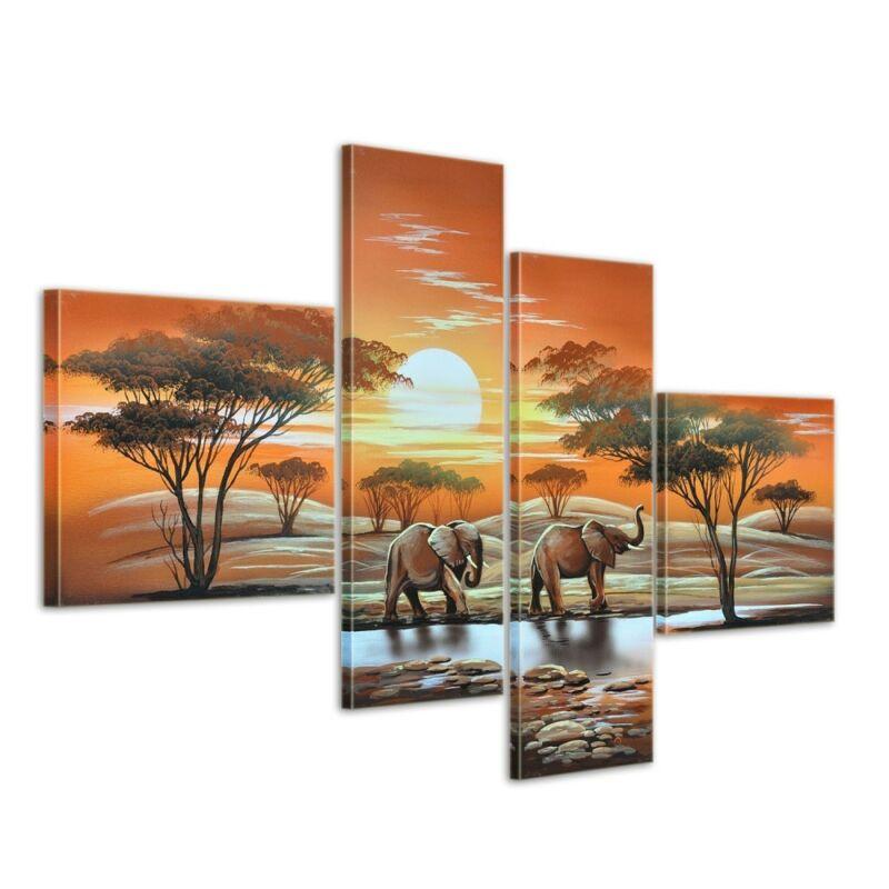 Elefant+Afrika+M3+-+Leinwandbild+4+teilig+100x70cm+Handgemalt