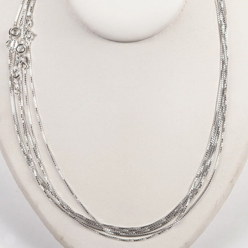 """10 pieces 925 Sterling SILVER medium thick BOX 019 CHAIN NECKLACES Lot 18"""""""