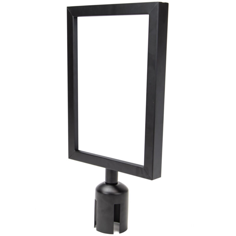 """Black Metal Sign Holder Frame 8.5"""" x 11"""" for Stanchion Posts Crowd Line Control"""