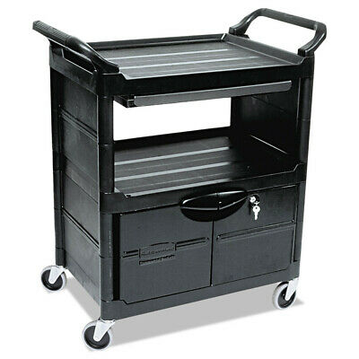 Rubbermaid Utility Cart W Locking Doors 2shelf Black 345700bla New
