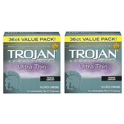 Geschmiert 36 Kondome (2 Packung Trojan Empfindlichkeit Ultradünn Premium Geschmiert Latex Kondoms 36)