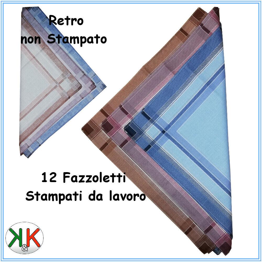 Fazzoletti uomo cotone 100 % fazzoletto da naso misure 40 x 40 stampato 12 Pz